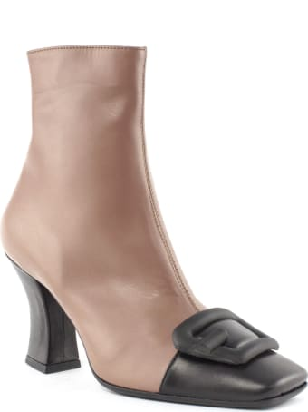 Roberto Festa Ankle Boot In Brown And Black Leather