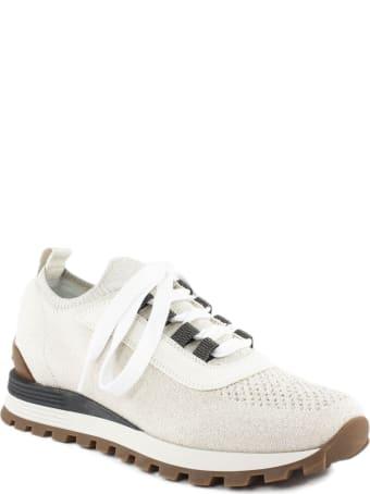 Brunello Cucinelli Beige Leather Sneakers