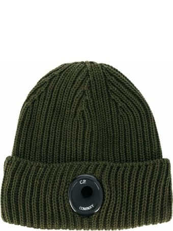 C.P. Company Lens Knitted Beanie In Green Wool