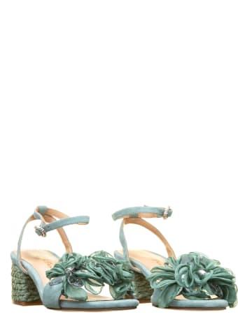 Alma en Pena Alma En Pena Green Flower Sandals
