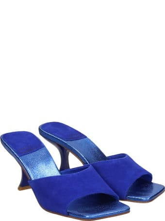 Jeffrey Campbell Mr Big Sandals In Blue Suede And Leather