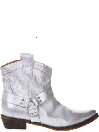 Coral Blue Silver Fabric Texan Vintage Ankle Boots