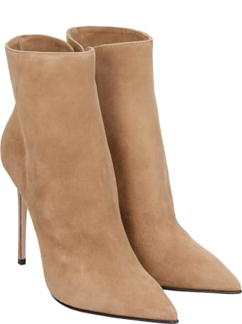 Le Silla High Heels Ankle Boots In Beige Suede