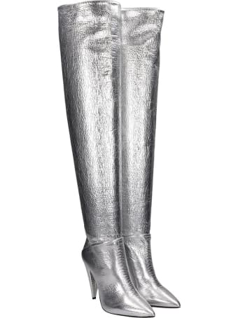 Elena Iachi High Heels Boots In Silver Leather