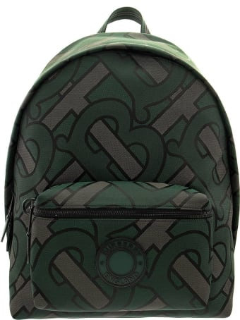 Burberry Monogram Recycled Polyester Jacquard Backpack Jett Forest Green