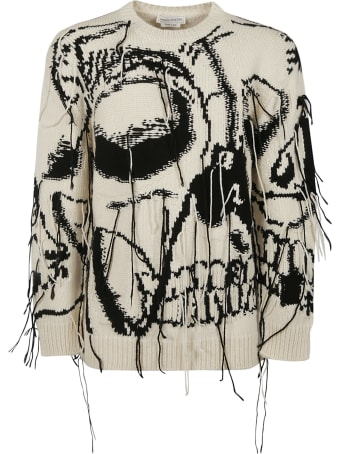 Alexander McQueen Skull Embroidery Frayed Sweater