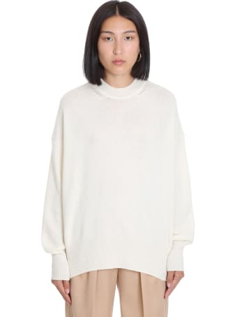 Jil Sander Knitwear In White Cachemire And Silk
