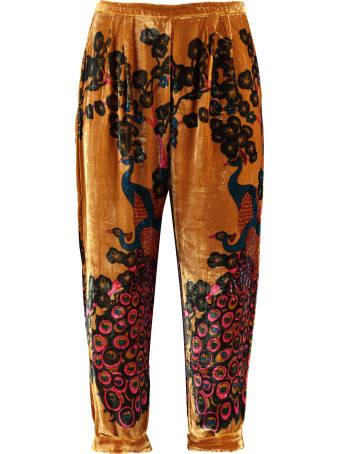 Mes Demoiselles Pavo Printed Velvet Trousers