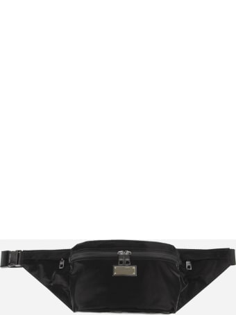 Dolce & Gabbana Black Nylon Pouch With Logo Plate