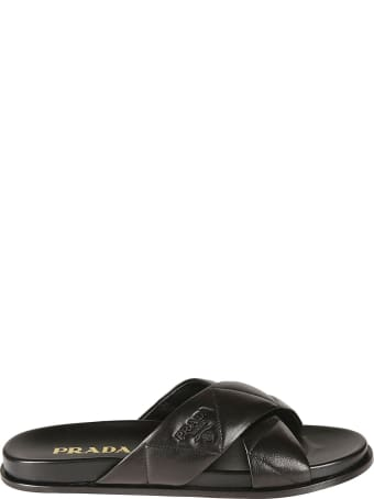 Prada Logo Stamp Quilted Sliders