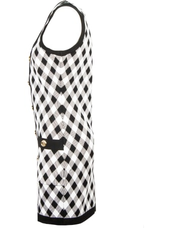 Balmain Black Check-print Minidress
