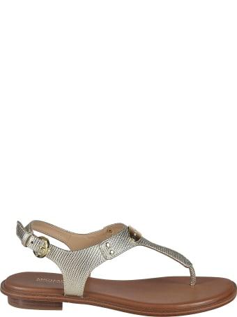 Michael Kors Side Buckled Logo Plaque Flat Sandals