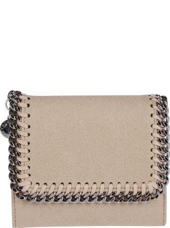 Stella McCartney Beige Faux Leather Falabella Flap Wallet
