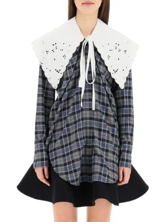 Patou Tartan Shirt With Embroidered Poplin Collar