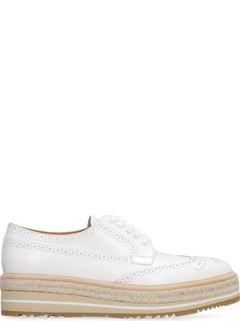 Prada Leather Lace-up Platform Shoes