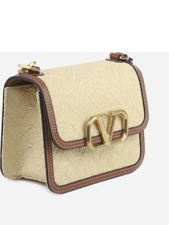 Valentino Garavani Vsling Raffia Bag With Leather Inserts