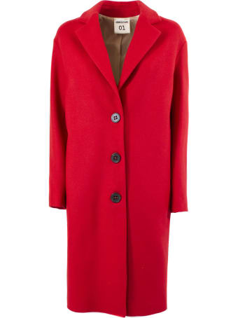 SEMICOUTURE Red Wool Single-breasted Fitted Coat