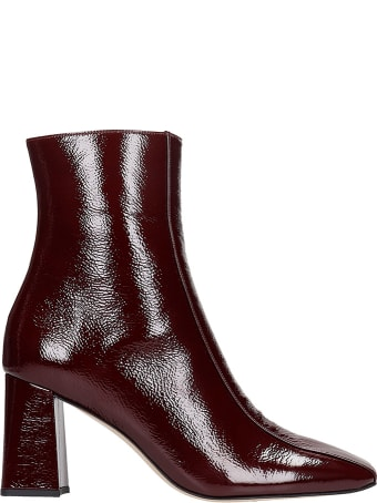 Fabio Rusconi High Heels Ankle Boots In Bordeaux Patent Leather