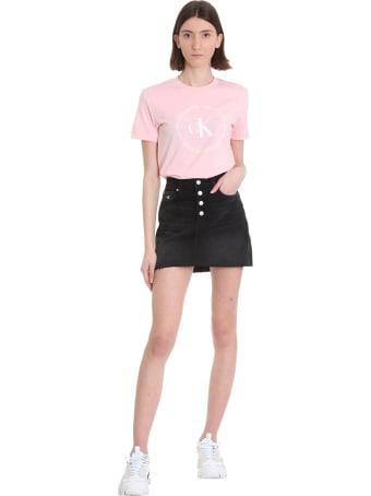 Calvin Klein Jeans T-shirt In Rose-pink Cotton