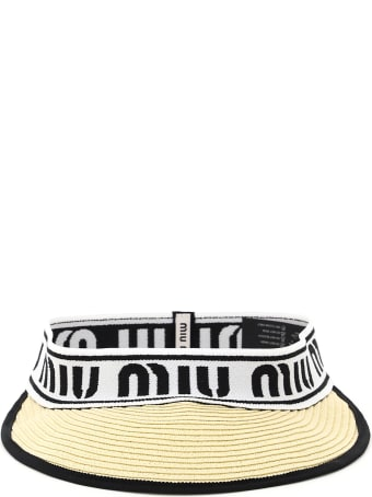 Miu Miu Raffia Visor With Logo