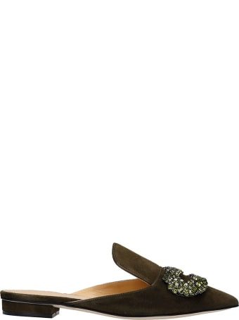 Giannico Dphne Flat Loafers In Khaki Suede