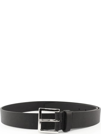 Orciani Black Saffiano Leather Belt