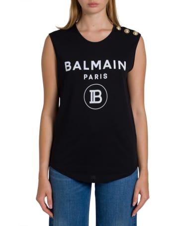 Balmain New Logo Floc Printed Sleeveless T-shirt
