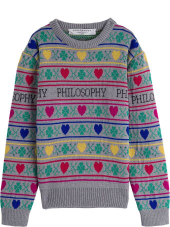 Philosophy di Lorenzo Serafini Kids Wool Sweater With Hearts Detail