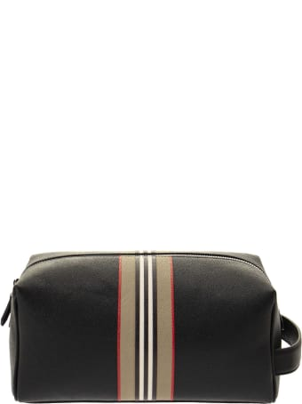 Burberry Washbag - Logo And Icon Stripe Print Leather Travel Pouch