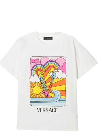 Young Versace White T-shirt With Multicolor Print