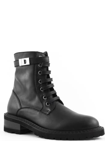 Via Roma 15 Black Leather Ankle Boot
