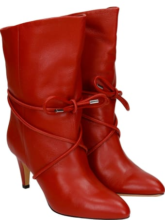 Isabel Marant Lilda High Heels Ankle Boots In Red Leather