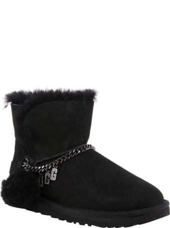 UGG Fur Trim Ankle Boots