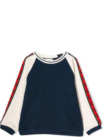 Gucci Dark Blue Cotton Jersey Sweatshirt