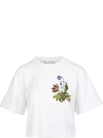 Off-White White Botanical Arrows Woman Cropped T-shirt
