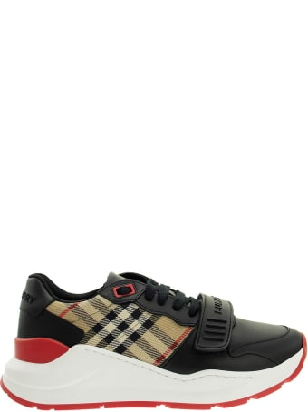 Burberry Logo Print Vintage Check And Leather Sneakers
