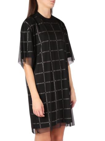 Calvin Klein Jeans Black Cotton Check T-shirt Mini Dress