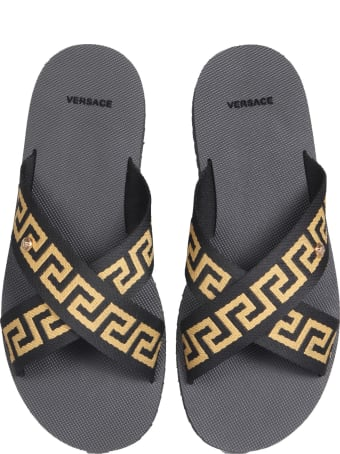 Versace Greek Sandals With Ribbon