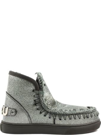 Mou Eskimo Sneaker In Silver Glitter