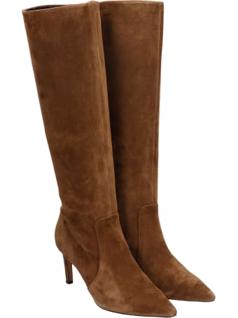 Bibi Lou High Heels Boots In Brown Suede
