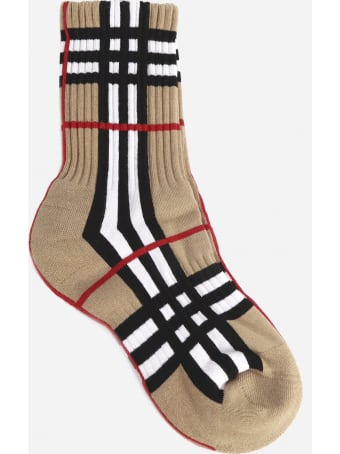 Burberry Cotton Blend Socks With Intarsia Tartan Motif