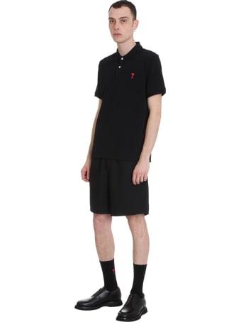Ami Alexandre Mattiussi Polo In Black Cotton