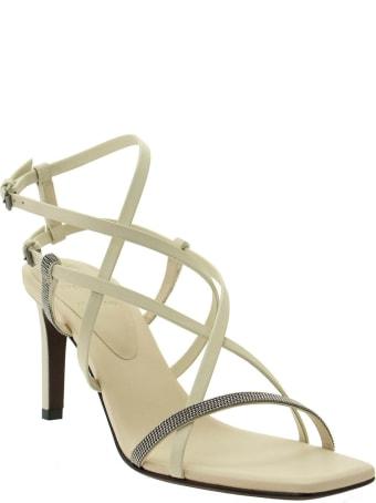 Brunello Cucinelli Matte Calfskin Heels With Shiny Strap