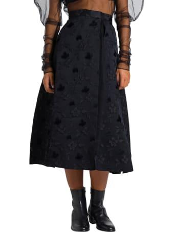 Noir Kei Ninomiya Flared Jacquard Skirt With Pleated Tulle Underskirt