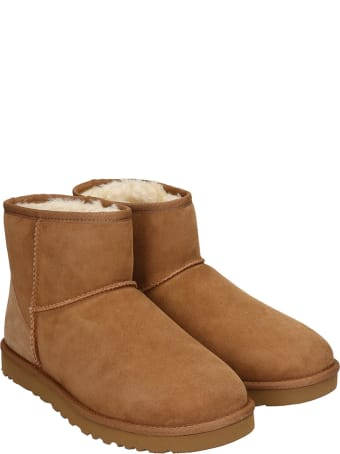 UGG Mini Classic  Ankle Boots In Brown Suede