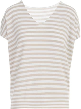 Anneclaire V Neck S/s Sweater W/down Sleeves