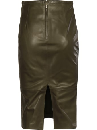 Rochas Waist Fit Leather Skirt