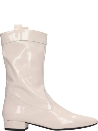 Fabio Rusconi Ankle Boots In Beige Patent Leather