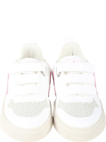 Veja White Sneakers For Girl With Pink Logo
