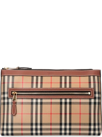 Burberry Canvas Envelope Bag With Check Motif